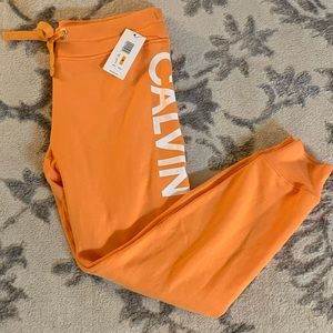 Calvin Klein Orange Fleece Jogger Sweatpants